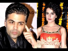 Karan introduced Kangana as a two-time National Award winner and said that he's a fan of Kangana's performance, especially after watching Queen and Tanu Weds...