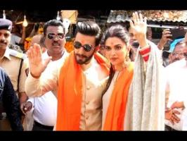 Deepika Padukone and Ranveer Singh visited the Siddhivinayak Temple in Mumbai on Friday. The couple made an appearance at the temple dressed in coordinated o...