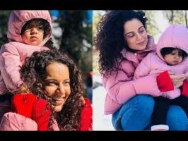 Kangana's official Instagram handle shared pictures of her and her family on Tuesday. She is seen rolling up snowballs with her sister Rangoli Chandel and br...