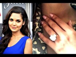 The 30-year-old star shared a picture of herself sporting the engagement ring, a huge solitaire. The actress captioned the image,