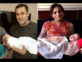 Superstar Salman Khan has shared a photograph of his mother Salma with his newborn nephew Ahil. The 'Dabangg' star took to Twitter to share the image, where ...