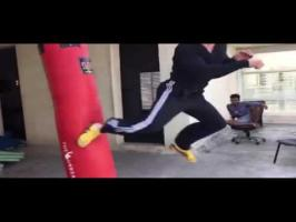 Watch Tiger Shroff heavy bag work out