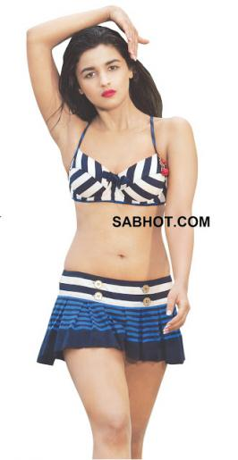 Student of the year starring actress Alia bhatt - hot poses in Bikini bra with tiny short skirt photos collection