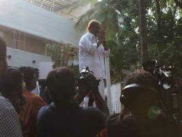 Rajinikanth, who is celebrating his 62 birthday, addressed media and met his fans. Here are the pictures....