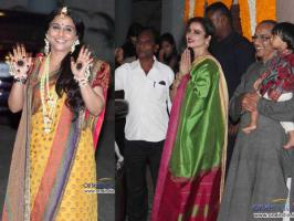 On Wednesday Bollywood diva Rekha attended Vidya Balan\'s mehendi function which was was held at her Khar house in Mumbai.