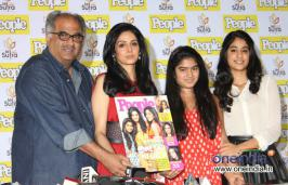 Sridevi With Her Husband Boney Kapoor and Daughters Jhanvi & Khushi at People Magazine Cover Launch Event.