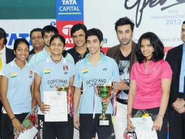 Ranbir Kapoor met ex girlfriend Deepika Padukone father Prakash Padukone at Tata Open Badminton Tournament to distribute prizes among the winners.