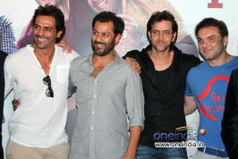 The cast of Kai Po Che Sushant Singh, Raj Kumar, Amit and Amrita at the launch of the trailer of their upcoming film.