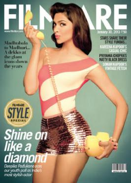 Deepika Padukone Hot on Cover of Filmfare Magazine Jan 2013