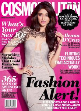 Ileana D'Cruz on the Cover page of Cosmopolitan Magazine Jan 2013 issue
