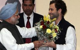 The Congress party on Saturday named Rahul Gandhi, 42, as vice-president. Images of Rahul Gandhi being congratulated by other part members.