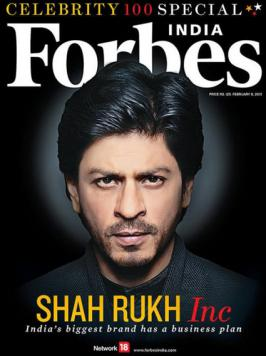 Bollywood superstar Shah Rukh Khan, has topped the Forbes Magazine India Celebrity 100 list, a ranking of India's biggest entertainers based on their income and popularity.