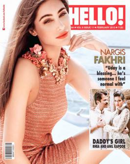 Nargis Fakhri Nargis Fakhri graces the cover of the February issue of Hello!magazine wearing a Gucci dress. It seems she opens up about rumoured