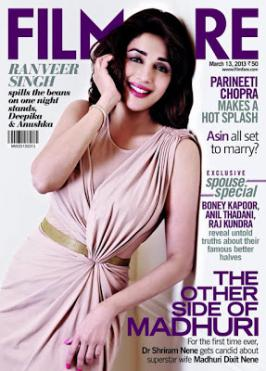 Madhuri Dixit On Filmfare Magazine Mar 2013 Coverpage