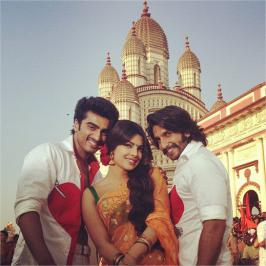 View pictures of Bollywood movie Gunday On the Sets. Priyanka Chopra, Ranveer Singh & Arjun Kapoor.