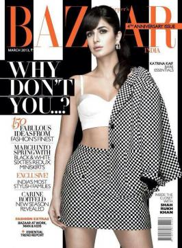 Katrina Kaif on the cover of Harper\'s Bazaar India March 2013.