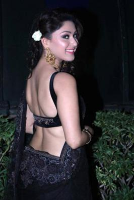 Manjari Latest Hot Stills In Transparent Black Saree