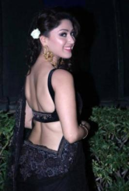 Manjari Latest Hot Stills in Black Transparent Saree