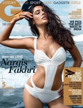 Nargis Fakhri Hot On GQ India Magazine April 2013 Coverpage