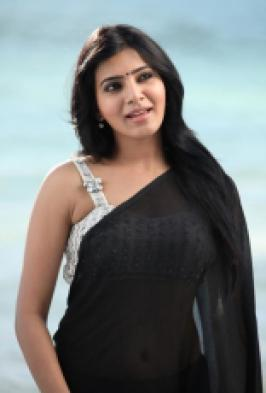 Samantha Latest Hot Stills In Black Transparent Saree