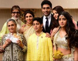 Photos of Bachchan's Family Attend Close Friend Marriage . Amitabh Bachchan Tweeted this photos on Social Networks. Abhishek Bachchan, Aishwarya Rai Bachchan, Shwetha Nanda, Jaya Bachchan, Agastya Navya Naveli Nanda. Through out thewedding event Aaradhya