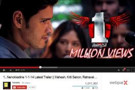 Tollywood is setting new Youtube records with Mahesh Babu's One movie. We had seen many Bollywood flicks created Youtube records in past, but the Mahesh One creating sensation with Theatrical trailer, Micro Teaser, Teasers and Song Teasers equals to Bollywood.