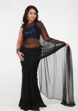 Samvritha Sunil Black Saree Stills .....