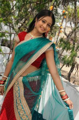 Sandeepthi In Blue Half Saree Stills