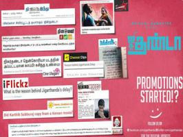There were many reports in the media regarding the delay of Jigarthanda release. Reverting to this Jigarthanda team have come up with a creative poster including a college of all the articles written by critics and tagging 'Promotions Started' in it. Karthik Subbaraj has once again proved he is a g