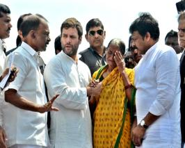 Congress vice president Rahul Gandhi Sunday visited cyclone-hit north coastal Andhra and assured people that his party will pressurise the central government...