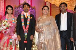 Raj Tv Md Daughter Wedding Reception Photos, Celebs at Raj Tv Md Daughter Marriage Reception Images, Raj Television Group Daughter Marriage Pics