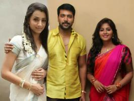 Appa Takkar is the upcoming Tamil film that stars Jayam Ravi, Trisha and Anjali in the lead roles. The movie is taking fast shape in the hands of director Suraj and is currently shooting in Pollachi.