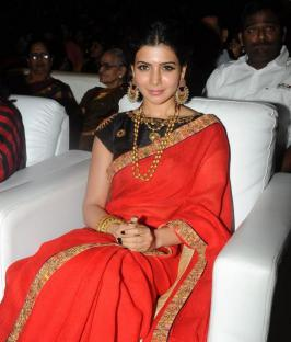Samantha New Look Pics, Actress Samantha Cute in Saree Photos, Samantha Latest 2015 Images, Samantha at S/O of Sathiyamoorthy Audio Launch Function Stills