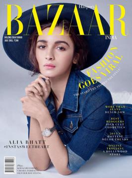 Cuteness Redefined by Alia Bhatt for Harper's Bazaar July 2015.In a blue hat and denim dress, the 2-States actress is oozing out innocence at her best.