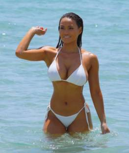 Daphne Joy – In a white bikini in Miami