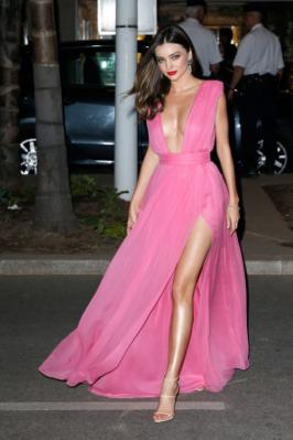 Miranda Kerr Stunning in Hot Pink Dress in Cannes 2015