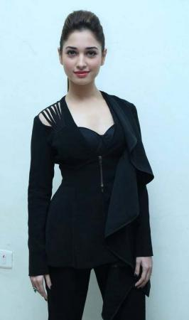 Andhra Pulse: Tamanna Cute Looking Stills  In Black Dress