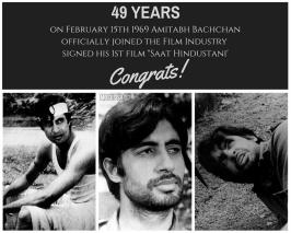 The Bollywood's Shahenshah Amitabh Bachchan completed 49 years in the Hindi film industry. On this special occasion, the 75-year-old Amitabh and an active social media user recalled his memories as he shares nostalgic pictures of his first film on Twitter.