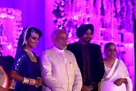 A host of dignitaries from Bollywood, cricket fraternity and politics on Sunday graced the high-profile wedding reception of off-spinner Harbhajan Singh at a...