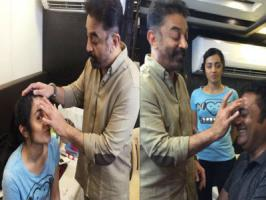Actor-filmmaker Kamal Haasan is busy juggling between acting and doing make-up for his co-actors Trisha Krishnan and Prakash Raj on the sets of his upcoming Tamil thriller