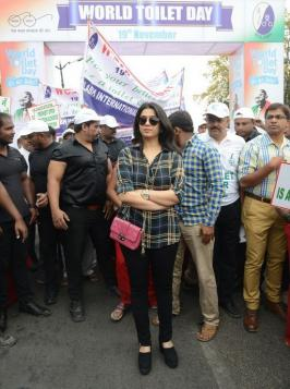World Toilet Day, Actresss Charmi at World Toilet Day Walk Event Photos, Sulabh International Organised 2km Walk, November 19th, Jalavihar Necklace Road Hyderabad. Charmee Kaur, Pics, Images