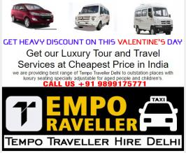 take a survey with our tour and travel services we are providing best range of tempo traveller at very budget price, we are also offering online booking there you can book as per your need visit at www.tempotravller.com