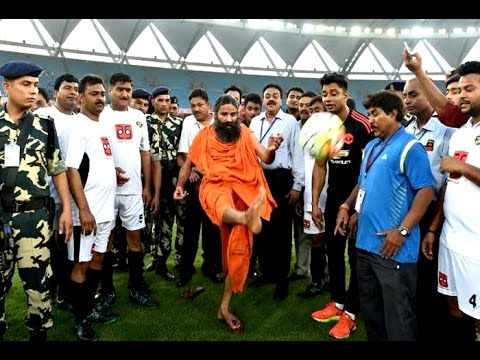 Baba Ramdev playing football goes viral - YouTube