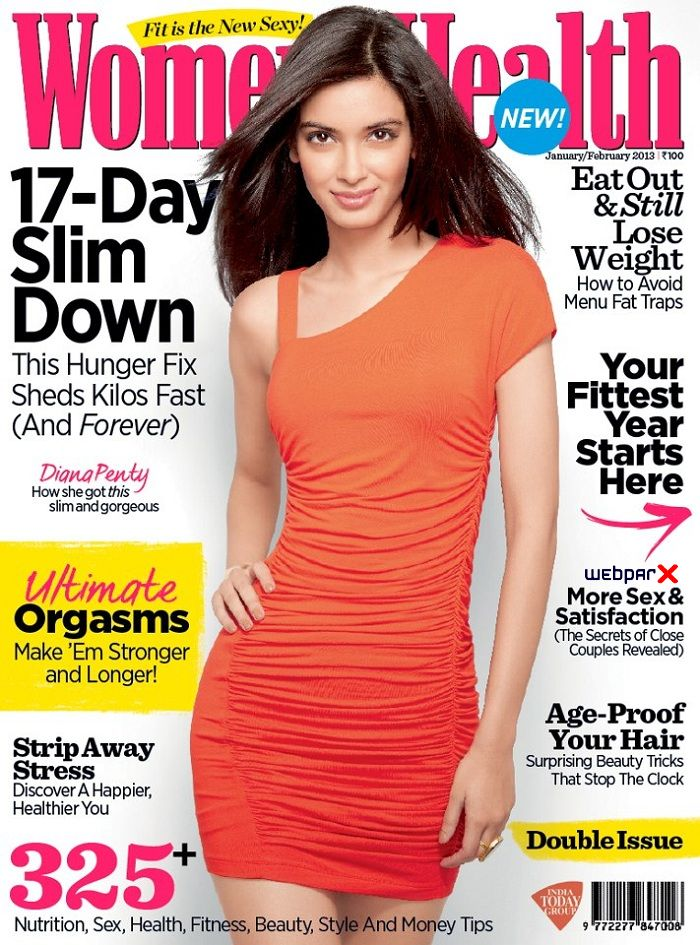 Diana Penty on Women Health Magazine Cover Page January-February 2013
