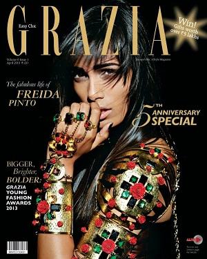 Freida Pinto On Grazia India Magazine April 2013 Coverpage | CINERAK.CO.IN