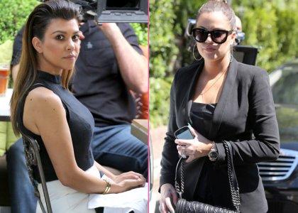 Kourtney and Khloe Kardashian: Filming Duo in Woodland Hills
