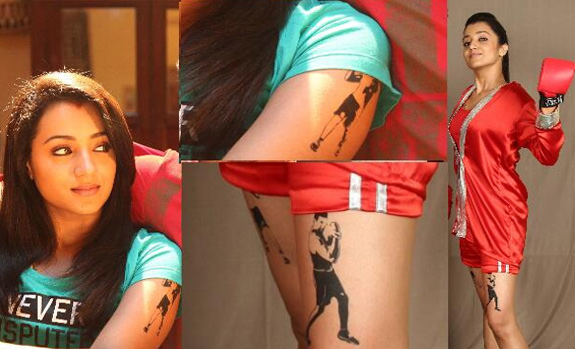 Tattoos have become one of the sign of showing their craziness towards celebrities. This is exactly the reason behind Trisha's new tattoo of Jayam Ravi on both of her arms and thighs. It is quite popular among Trisha fans that she has inked Nemo on her chest, which is a permanent tattoo, whereas th