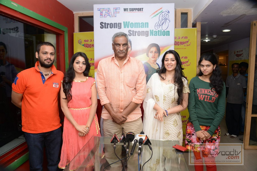Prathighatana Team At Radio Mirchi, Prathighatana Latest Telugu Movie, Charmi Actress, Rashmi Actress, Thamma Reddy bhardwaj, Radio Mirchi