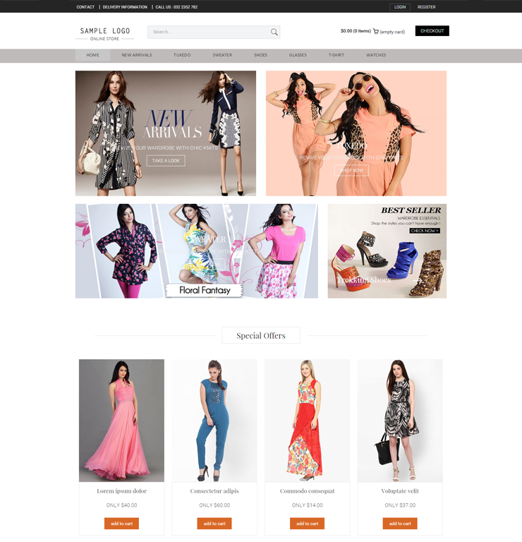 Online Ecommerce Website Templates With Responsive