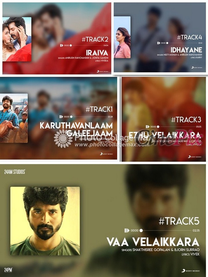 Velaikkaran Songs Tracklist Audio Releases Tomorrow » CinePix.in